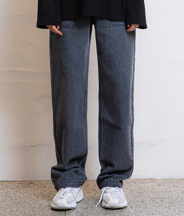HIDEGray Strap Accent Baggy Jeans