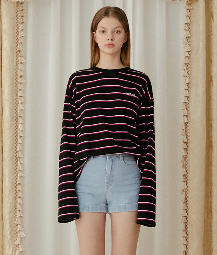 HEART CLUBExtended Sleeve Striped Loose T-Shirt