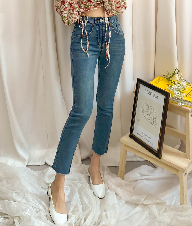 ROMANTIC MUSERaw Hem Slim Whiskered Jeans