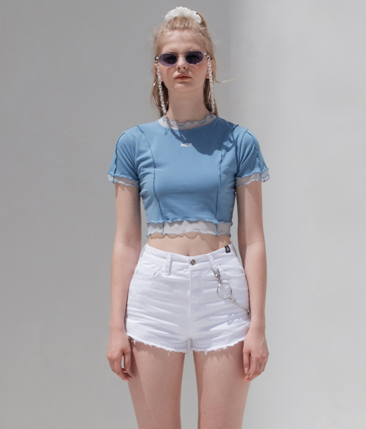 HIDESky Blue Lettuce Edge Crop Top