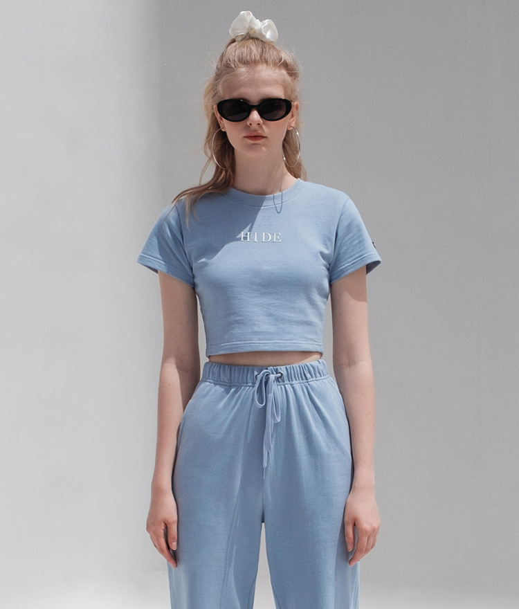 HIDESky Blue Logo Detail Crop Top
