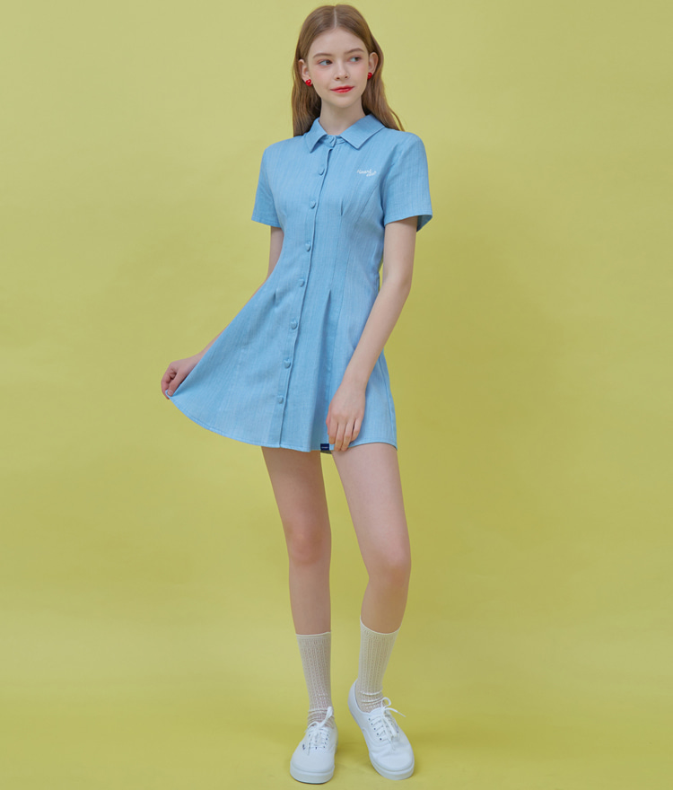 HEART CLUBSky Blue Collared Mini Denim Dress