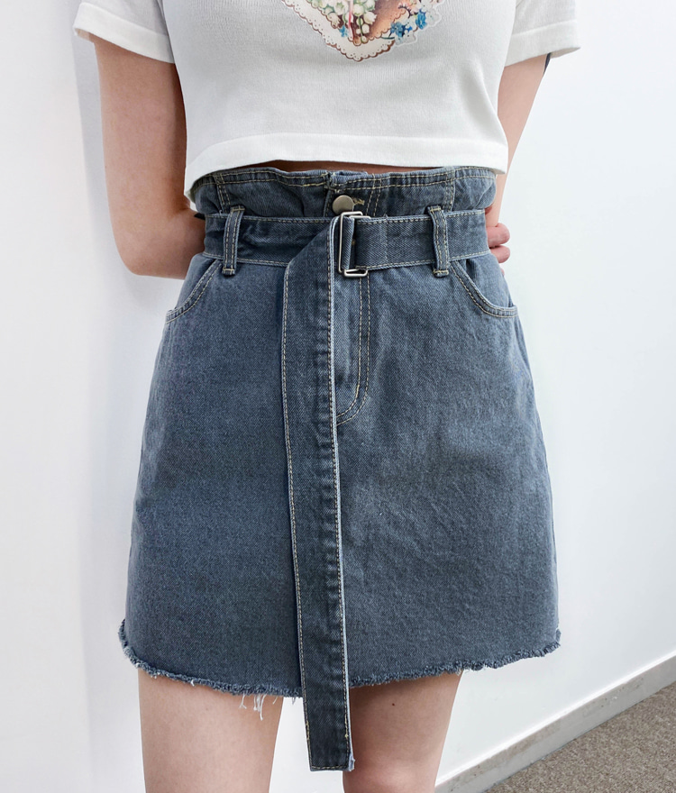 QUIETLABBelt Accent Denim Mini Skirt