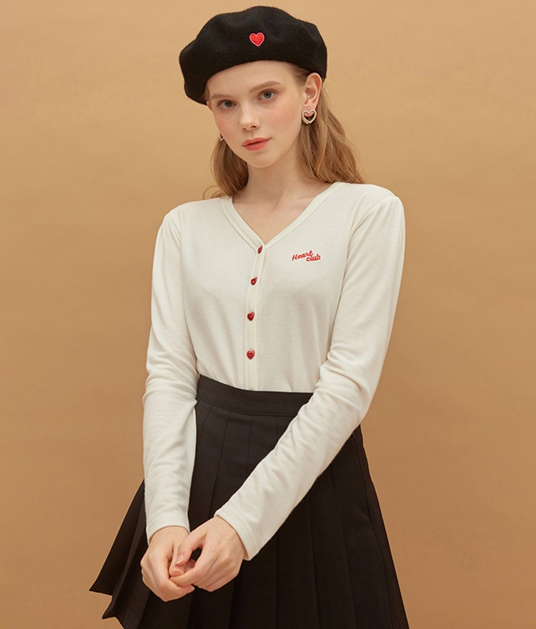 HEART CLUBHeart Button V-Neck Ivory Top
