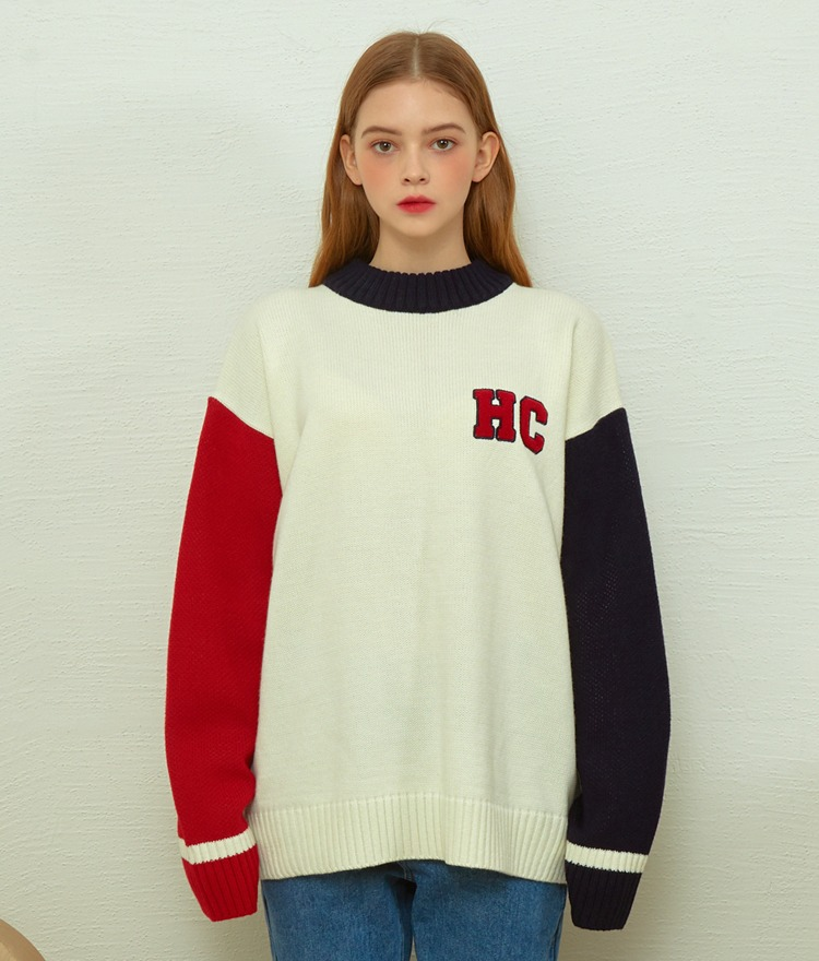 HEART CLUBContrast Sleeve Boxy Knit Top