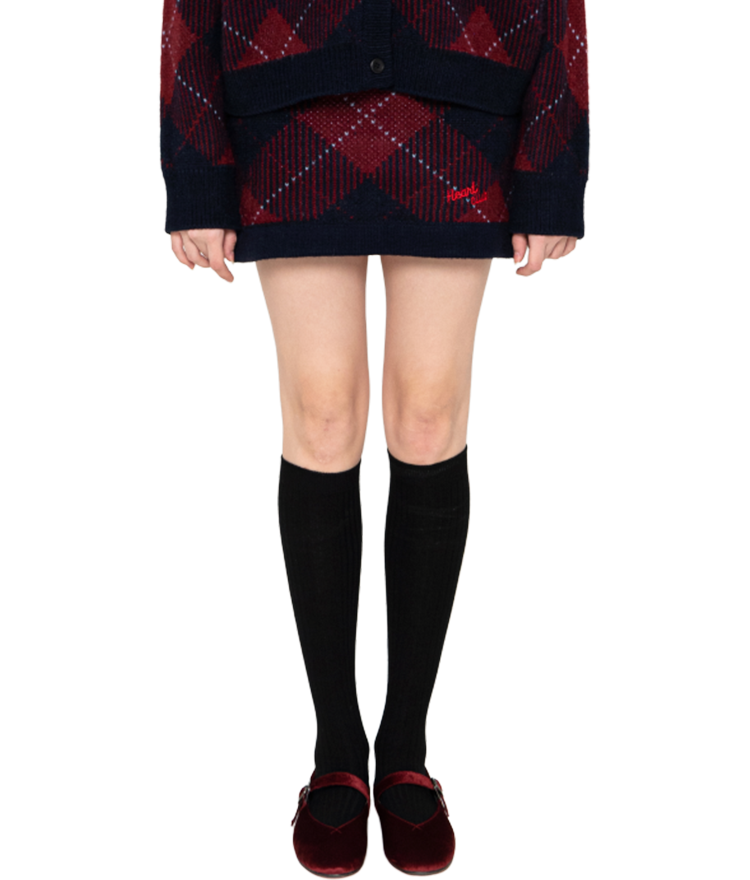 Heart Check Knit Skirt (Wine)