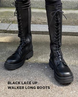 블랙레이스업 워커롱부츠