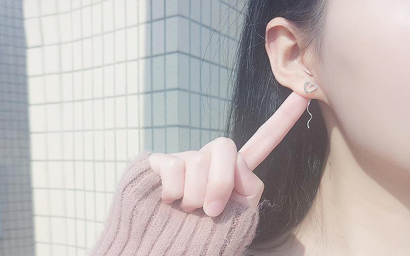 하트 실버 롱 귀걸이 v76753