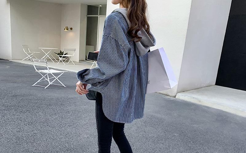 리즌 스트라이프 후드 셔츠 자켓 v81269