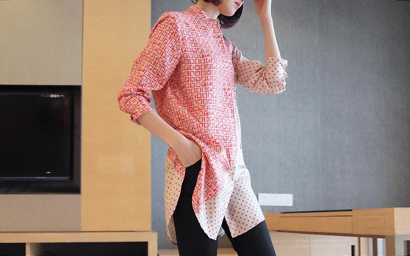 도나 언발 하프 패턴 셔츠 v107941