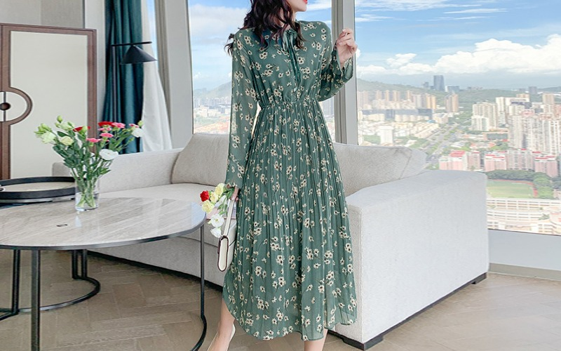 flower printing chiffon dress s138458