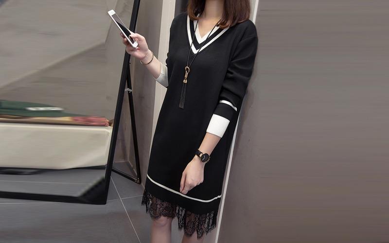 lace layer v-neck knit dress s138505