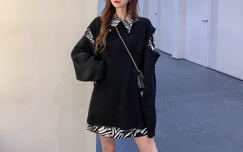 zebra shirt & cutting sweater v138390