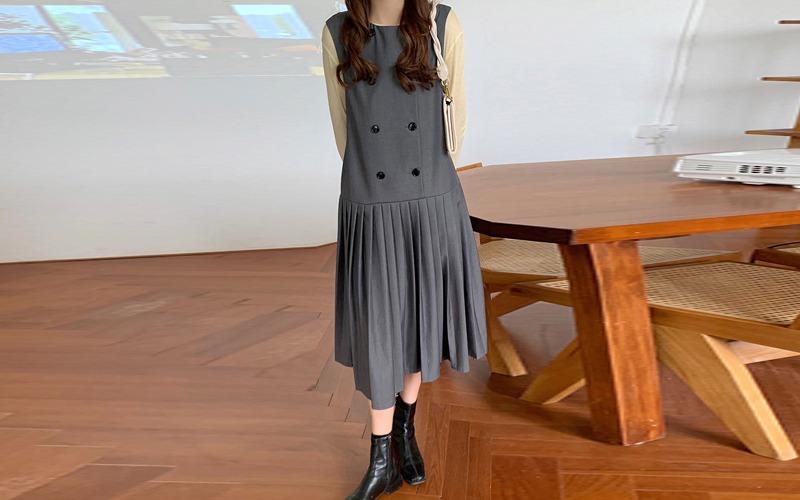 sleeveless pleats long dress v138439
