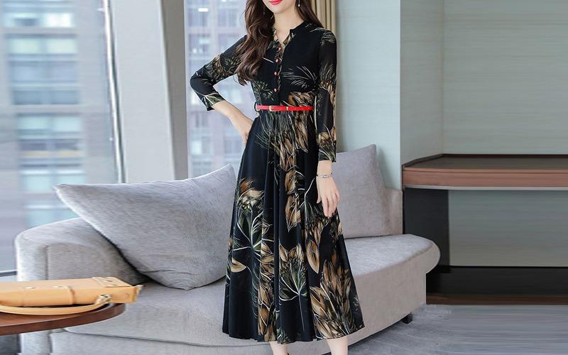 Big flower long dress s138846