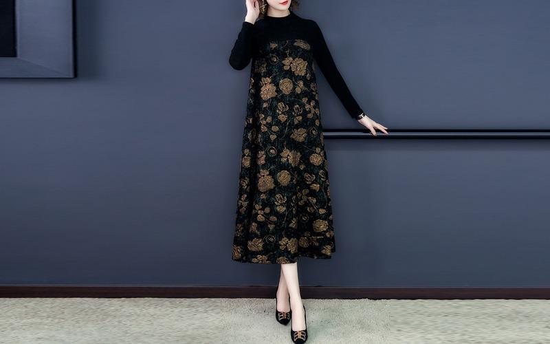 [M~3XL] Shining floral long dress s138825