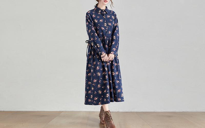 Shirt collar flower loose dress s138586