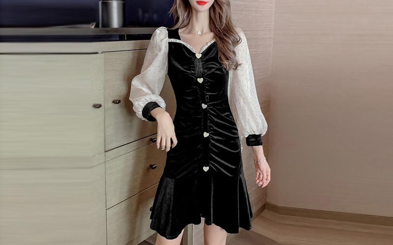 Velvet shirring dress s138536