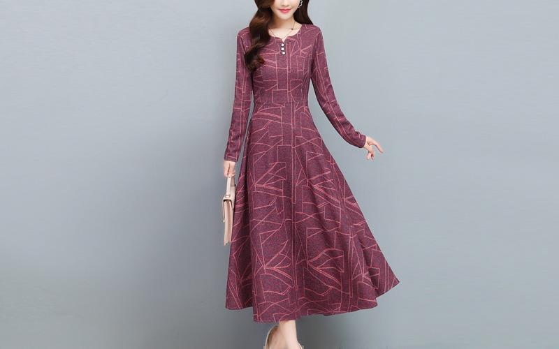 Geometry pattern flared long dress v138730