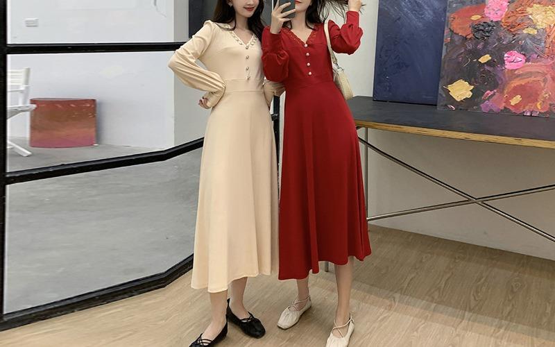 Lace v-neck dress s139104