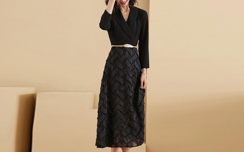 Leaf long dress v139096