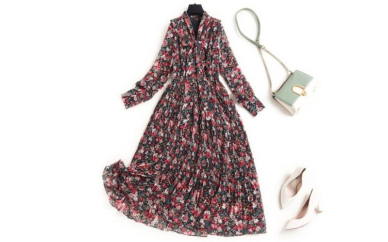 Ribbon flower frill long dress v139020