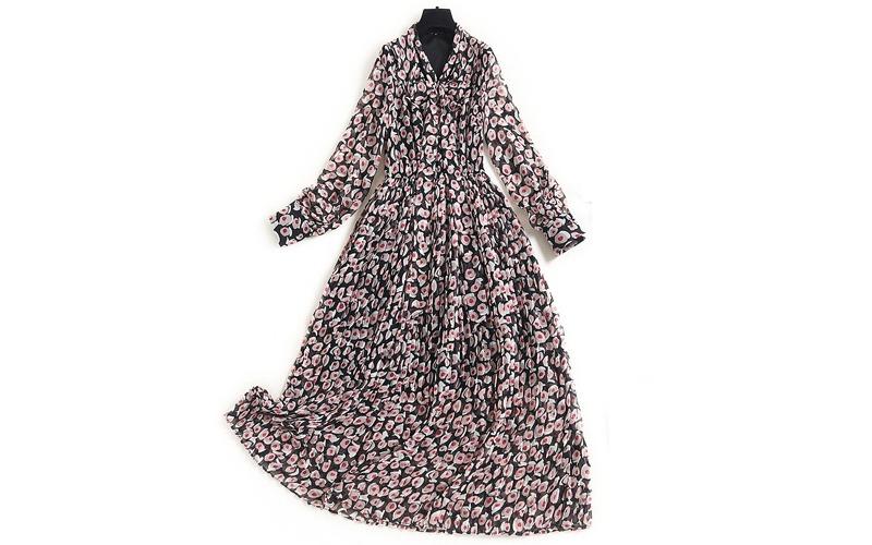 Pleats chiffon long dress v139025