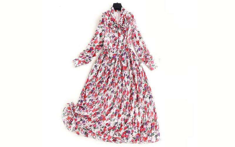 Floral ribbon dress v139015