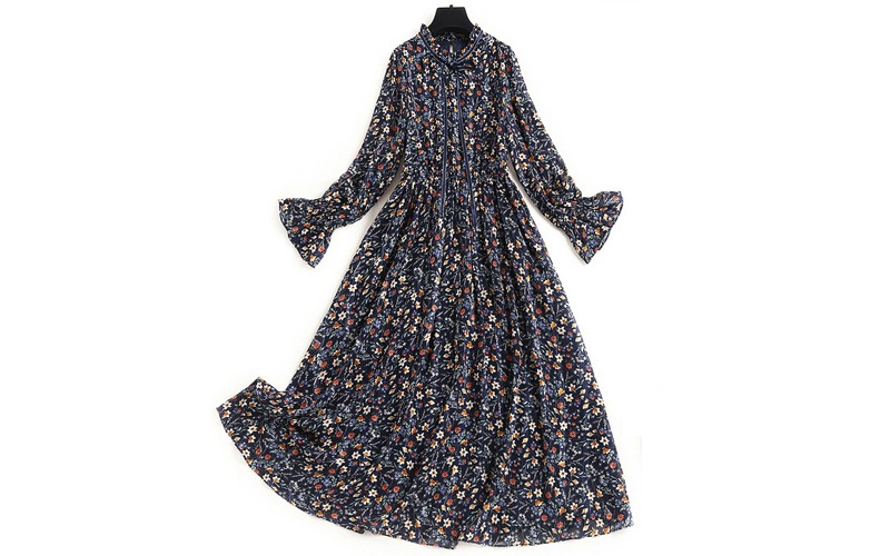 floral ribbon strap long dress v139034