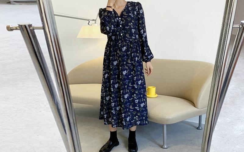 Loose fit flower dress v139051