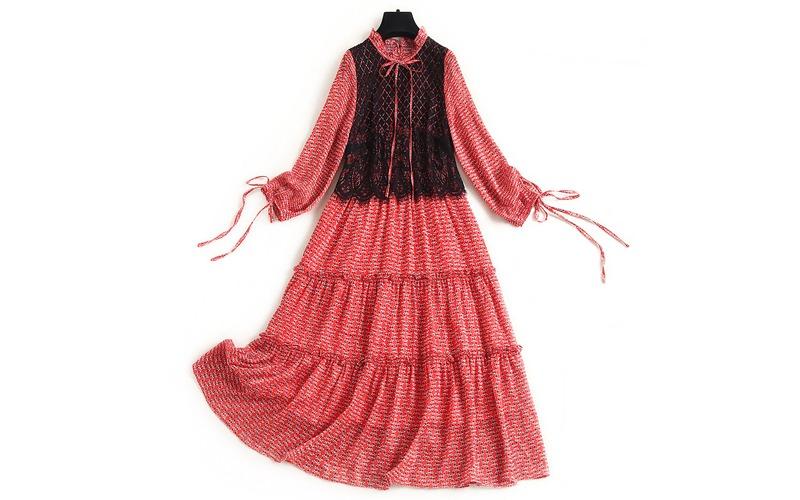 lace tiered chiffon dress v139009