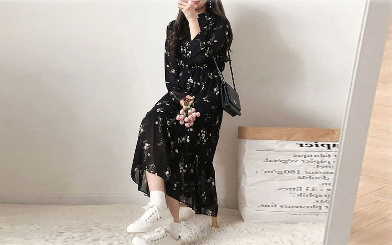 Flower chiffon dress s138869