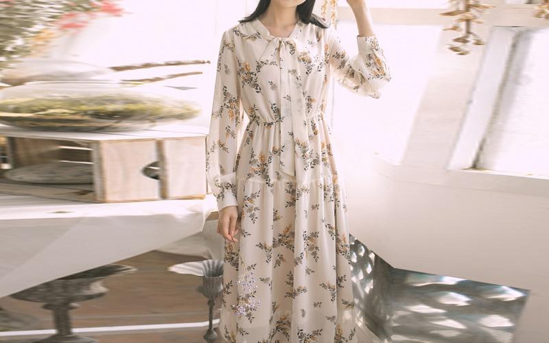 [2타입]Ribbon flower chiffon dress s139446