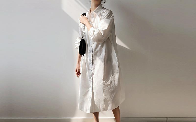 솔리드 컬러 스플릿 셔츠 원피스 s144952
