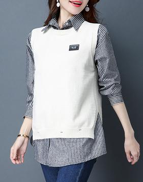 스트라이프 셔츠 & 패치 니트 베스트 v72037