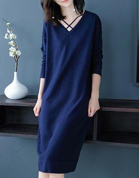 로딘 브이넥 니트 드레스 v79581