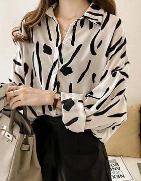엔디 패턴 루즈 셔츠 v80182