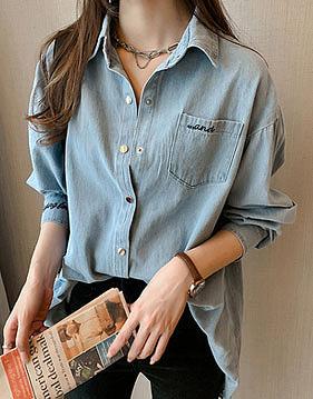 루제 워싱 데님 셔츠 v80920