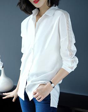 유니 펀칭 레이스 셔츠 v91734