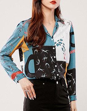 에린 패턴 피스 셔츠 v106377