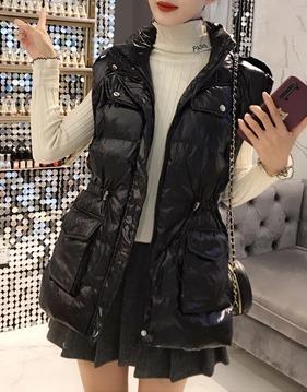 [오리솜털 90%]스트링 다운 패딩 조끼 v132262