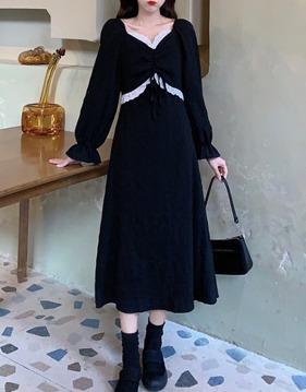 lace 배색 ribbon dress s138502
