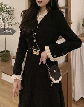 lace corduroy dress s138524