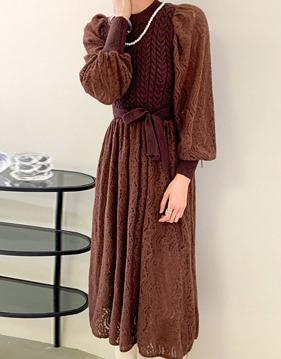twisted knit lace dress v138473
