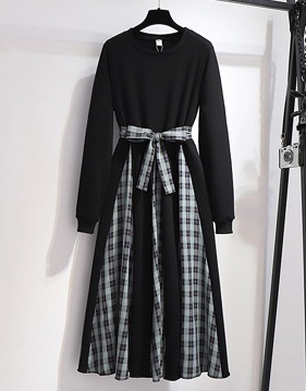 Dailey 배색 check long dress v138704
