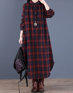 check loose shirt long dress s138794