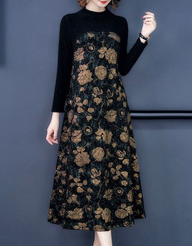 [M~3XL] Shining floral long dress s138825