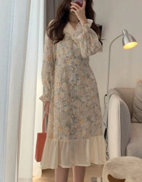 flower button up dress v138875