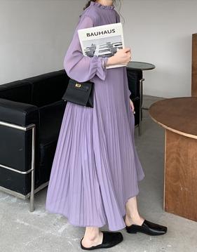 [BENEFIT] Pleats loose chiffon long dress s139131