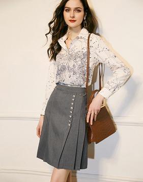 printing shirt & skirt v139040